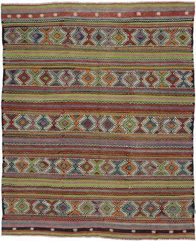 """Vintage Manisa Kilim Rug - 6' 1"""" x 7' 4"""" (73 in. x 88 in.)"""