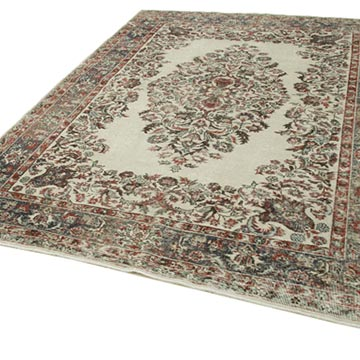 """Vintage Turkish Hand-Knotted Rug - 7'  x 8' 11"""" (84 in. x 107 in.) - K0050566"""