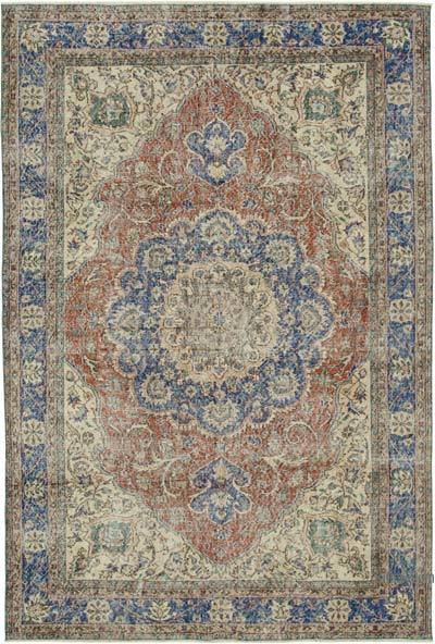 """Vintage Turkish Hand-knotted Area Rug - 6' 10"""" x 10' 1"""" (82 in. x 121 in.)"""