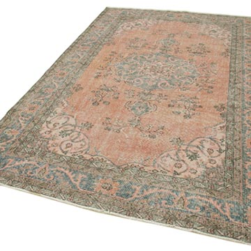"""Vintage Turkish Hand-Knotted Rug - 6' 1"""" x 9' 8"""" (73 in. x 116 in.) - K0050590"""