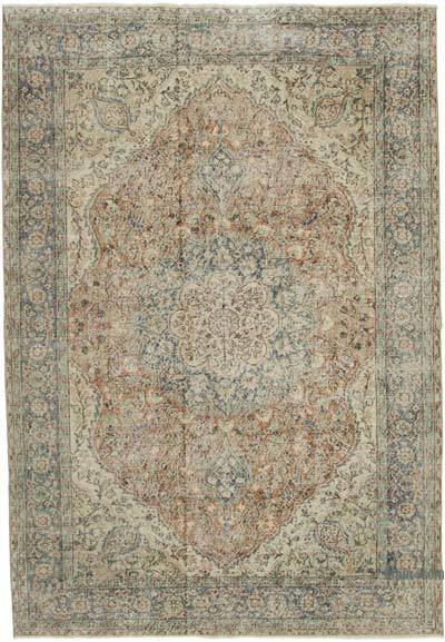 """Vintage Turkish Hand-knotted Area Rug - 6' 10"""" x 9' 9"""" (82 in. x 117 in.)"""