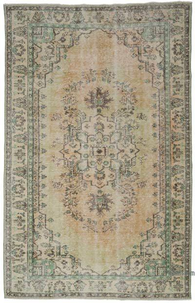 """Vintage Turkish Hand-knotted Area Rug - 6' 4"""" x 9' 10"""" (76 in. x 118 in.)"""