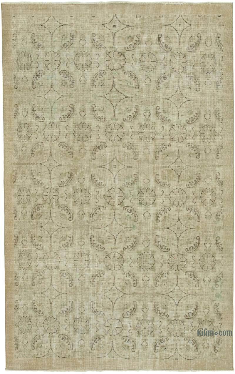 "Beige Vintage Turkish Hand-Knotted Rug - 5' 9"" x 8' 11"" (69 in. x 107 in.) - K0050857"
