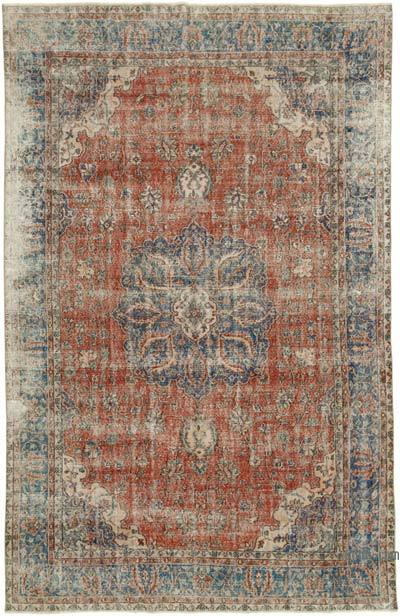 "Vintage Turkish Hand-knotted Area Rug - 6' 9"" x 10' 7"" (81 in. x 127 in.)"