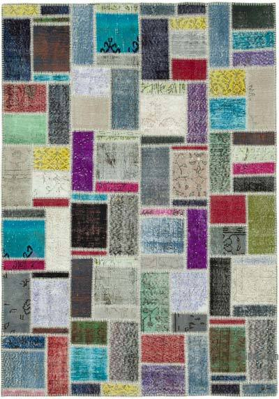"""Multicolor Patchwork Hand-Knotted Turkish Rug - 5' 9"""" x 8' 1"""" (69 in. x 97 in.)"""