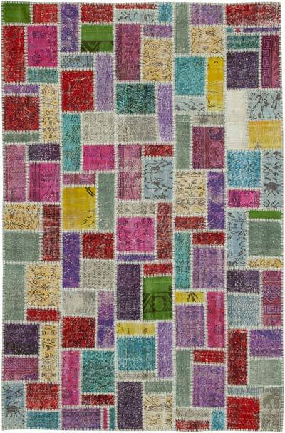 """Patchwork Hand-Knotted Turkish Rug - 6' 3"""" x 9' 5"""" (75 in. x 113 in.)"""
