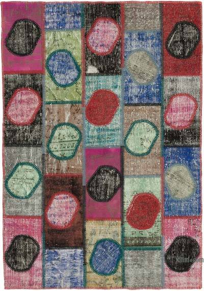 """Multicolor Patchwork Hand-Knotted Turkish Rug - 4' 7"""" x 6' 7"""" (55 in. x 79 in.)"""