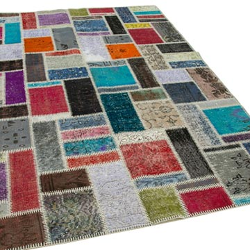 """Multicolor Patchwork Hand-Knotted Turkish Rug - 5' 8"""" x 7' 9"""" (68 in. x 93 in.) - K0051051"""