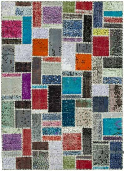 """Patchwork Hand-Knotted Turkish Rug - 5' 8"""" x 7' 9"""" (68 in. x 93 in.)"""