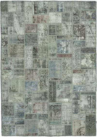 """Grey Patchwork Hand-Knotted Turkish Rug - 5' 8"""" x 7' 9"""" (68 in. x 93 in.)"""