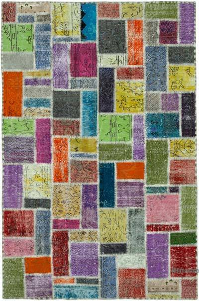 "Multicolor Patchwork Hand-Knotted Turkish Rug - 5' 6"" x 8' 2"" (66 in. x 98 in.)"