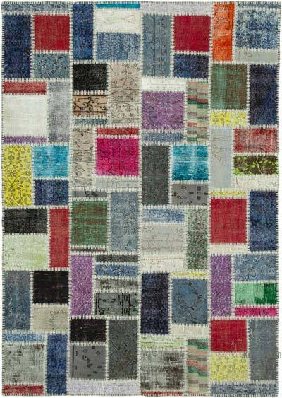 """Multicolor Patchwork Hand-Knotted Turkish Rug - 5' 8"""" x 8'  (68 in. x 96 in.)"""