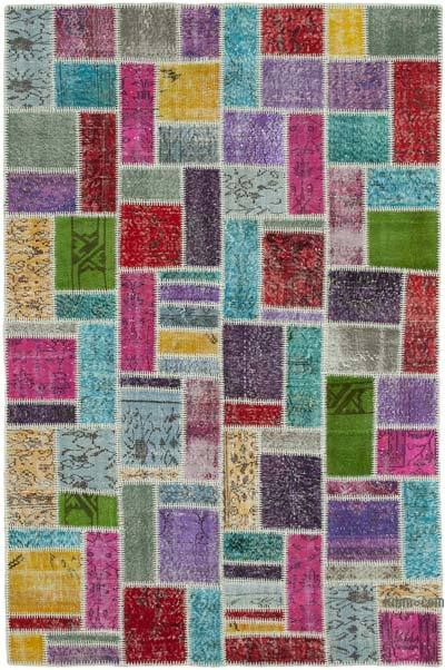 """Multicolor Patchwork Hand-Knotted Turkish Rug - 5' 5"""" x 8' 2"""" (65 in. x 98 in.)"""