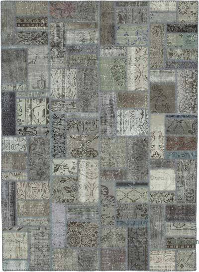 """Grey Patchwork Hand-Knotted Turkish Rug - 5' 9"""" x 7' 10"""" (69 in. x 94 in.)"""