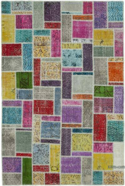 Çok Renkli Boyalı Patchwork Halı - 172 cm x 255 cm