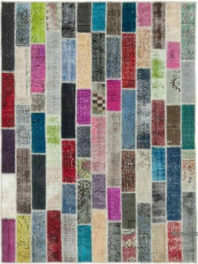 """Multicolor Patchwork Hand-Knotted Turkish Rug - 6'  x 7' 11"""" (72 in. x 95 in.)"""