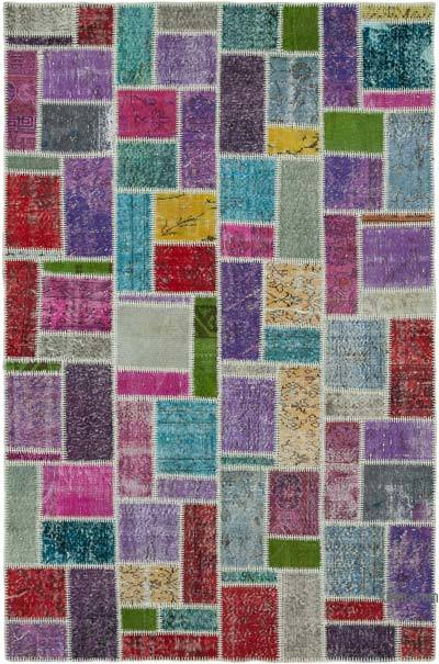 """Multicolor Patchwork Hand-Knotted Turkish Rug - 5' 6"""" x 8' 3"""" (66 in. x 99 in.)"""