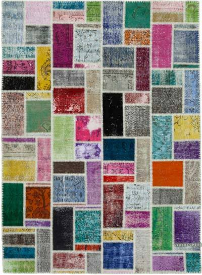 """Multicolor Patchwork Hand-Knotted Turkish Rug - 5' 8"""" x 7' 10"""" (68 in. x 94 in.)"""