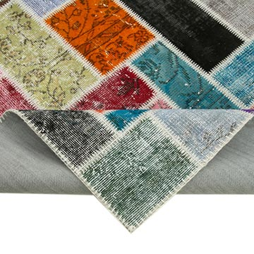 """Multicolor Patchwork Hand-Knotted Turkish Rug - 5' 8"""" x 7' 10"""" (68 in. x 94 in.) - K0051080"""
