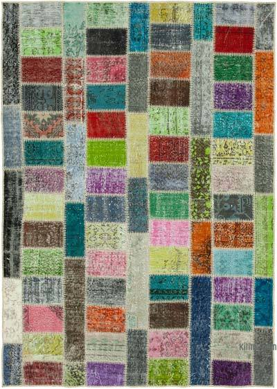 """Multicolor Patchwork Hand-Knotted Turkish Rug - 5' 9"""" x 7' 11"""" (69 in. x 95 in.)"""