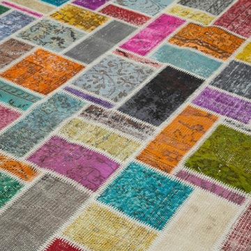 """Multicolor Patchwork Hand-Knotted Turkish Rug - 6' 10"""" x 9' 9"""" (82 in. x 117 in.) - K0051087"""
