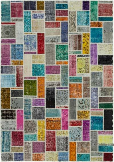 """Multicolor Patchwork Hand-Knotted Turkish Rug - 6' 10"""" x 9' 9"""" (82 in. x 117 in.)"""
