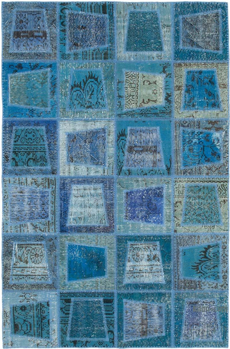 """Blue Patchwork Hand-Knotted Turkish Rug - 5' 3"""" x 7' 10"""" (63 in. x 94 in.) - K0051089"""