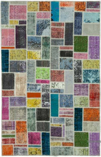 """Patchwork Hand-Knotted Turkish Rug - 5' 5"""" x 8' 6"""" (65 in. x 102 in.)"""