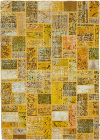 """Yellow Patchwork Hand-Knotted Turkish Rug - 5' 7"""" x 7' 10"""" (67 in. x 94 in.)"""