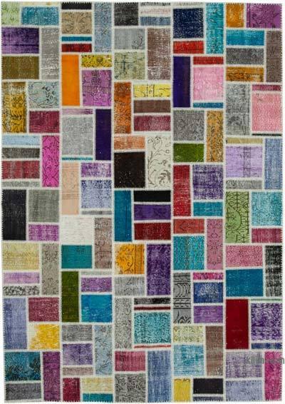 Çok Renkli Boyalı Patchwork Halı - 210 cm x 298 cm - 210 cm x 298 cm