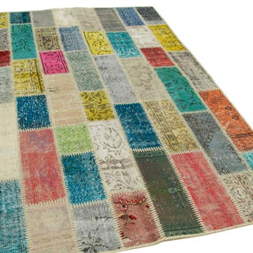 """Multicolor Patchwork Hand-Knotted Turkish Rug - 5' 3"""" x 7' 10"""" (63 in. x 94 in.) - K0051099"""
