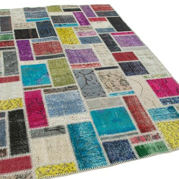 """Multicolor Patchwork Hand-Knotted Turkish Rug - 5' 7"""" x 7' 9"""" (67 in. x 93 in.) - K0051101"""