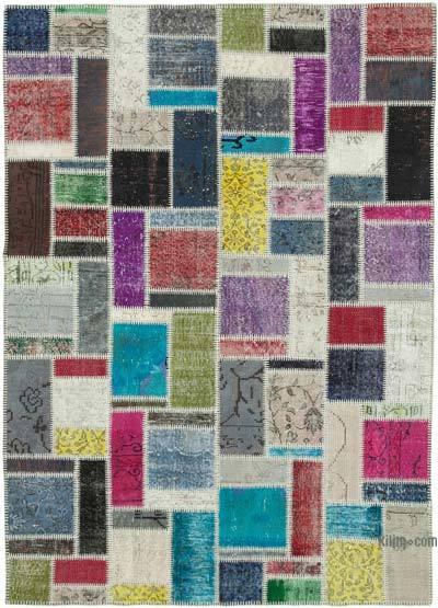 Çok Renkli Boyalı Patchwork Halı - 170 cm x 237 cm - 170 cm x 237 cm