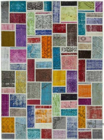 Multicolor Alfombra De Retazos Turca Sobre-teñida - 176 cm x 236 cm