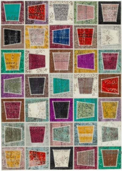 Çok Renkli Boyalı Patchwork Halı - 200 cm x 280 cm - 200 cm x 280 cm