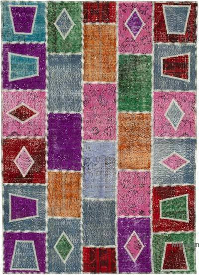"""Multicolor Patchwork Hand-Knotted Turkish Rug - 5' 5"""" x 7' 7"""" (65 in. x 91 in.)"""