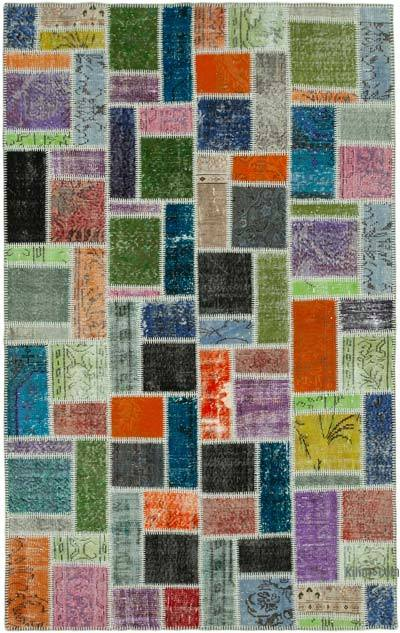 """Patchwork Hand-Knotted Turkish Rug - 5' 5"""" x 8' 4"""" (65 in. x 100 in.)"""