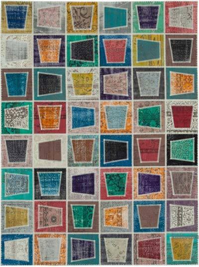 Çok Renkli Boyalı Patchwork Halı - 238 cm x 320 cm - 238 cm x 320 cm