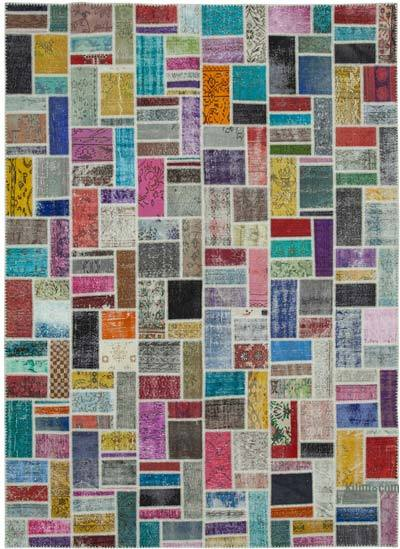 "Multicolor Patchwork Hand-Knotted Turkish Rug - 8' 8"" x 12'  (104 in. x 144 in.)"