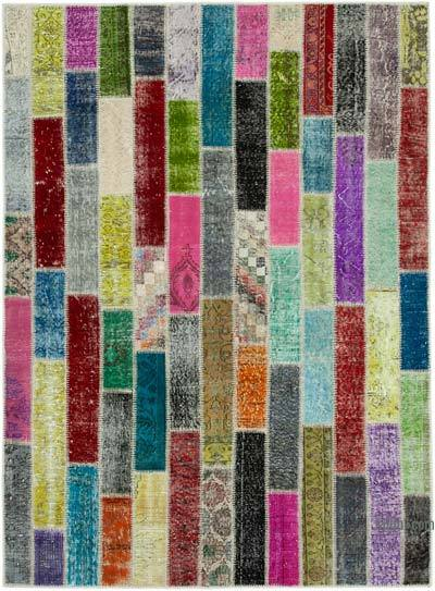 "Multicolor Patchwork Hand-Knotted Turkish Rug - 5' 11"" x 8'  (71 in. x 96 in.)"