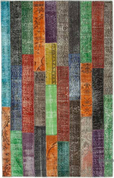 """Multicolor Patchwork Hand-Knotted Turkish Rug - 5' 1"""" x 8'  (61 in. x 96 in.)"""