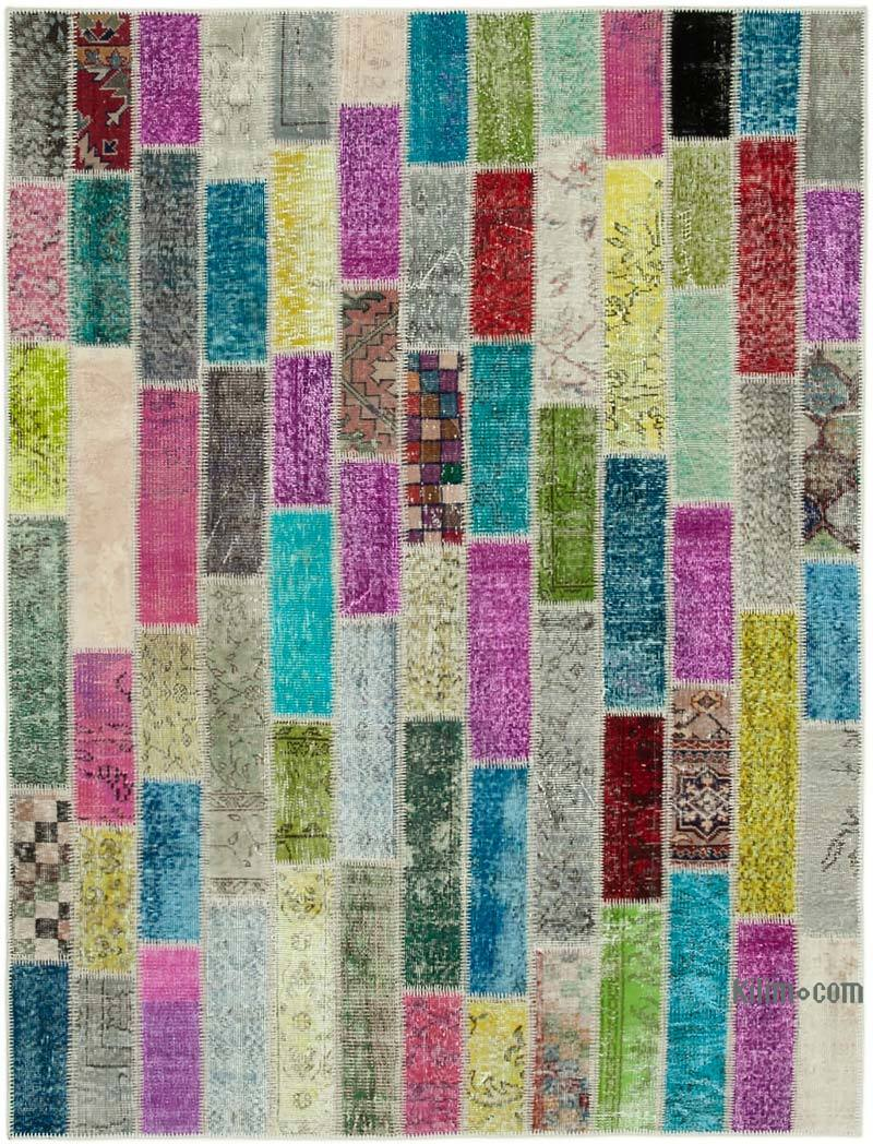 """Multicolor Patchwork Hand-Knotted Turkish Rug - 5' 10"""" x 7' 7"""" (70 in. x 91 in.) - K0051143"""