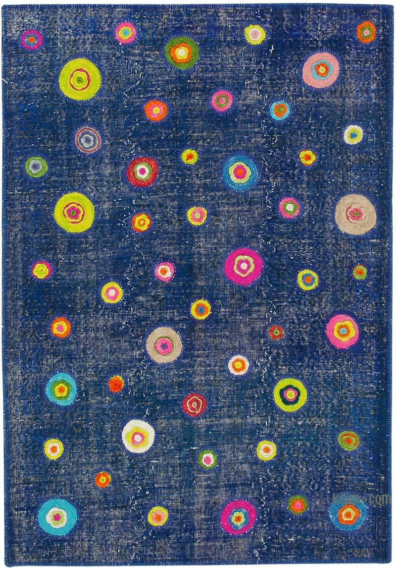 """Blue Patchwork Hand-Knotted Turkish Rug - 5'  x 7' 2"""" (60 in. x 86 in.) - K0051145"""