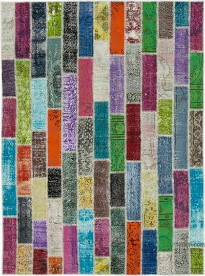 "Patchwork Hand-Knotted Turkish Rug - 6'  x 8' 1"" (72 in. x 97 in.)"