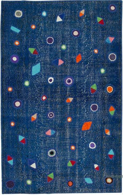 Lacivert Boyalı Patchwork Halı - 171 cm x 271 cm - 171 cm x 271 cm