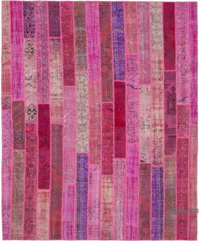 """Pink Patchwork Hand-Knotted Turkish Rug - 8' 3"""" x 10' 1"""" (99 in. x 121 in.)"""