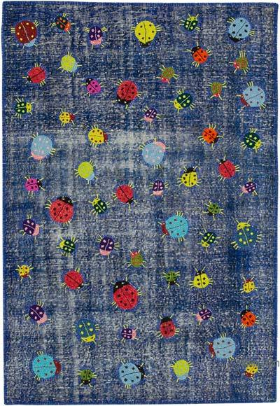 """Blue Patchwork Hand-Knotted Turkish Rug - 5' 1"""" x 7' 5"""" (61 in. x 89 in.)"""