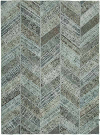 """Blue, Grey Patchwork Hand-Knotted Turkish Rug - 9' 1"""" x 12' 4"""" (109 in. x 148 in.)"""
