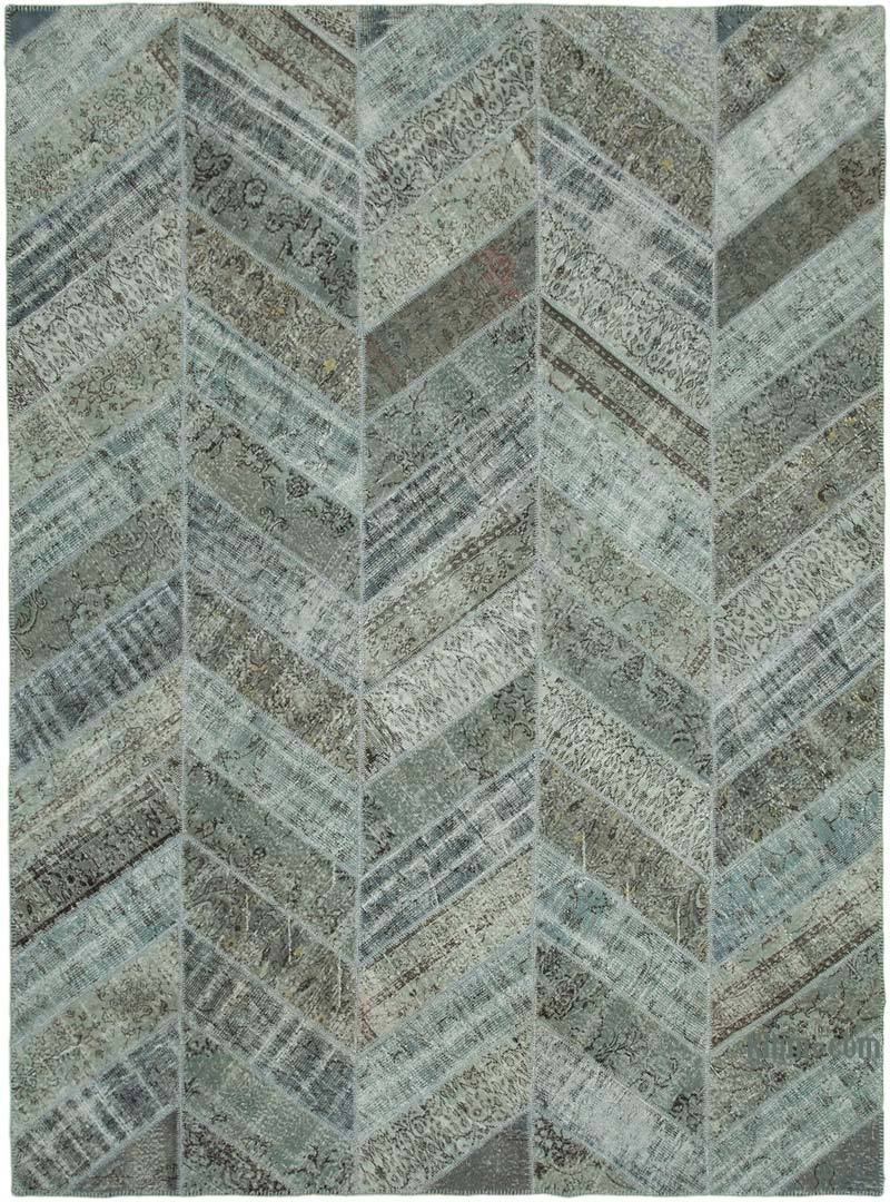 """Blue, Grey Patchwork Hand-Knotted Turkish Rug - 9' 1"""" x 12' 4"""" (109 in. x 148 in.) - K0051168"""