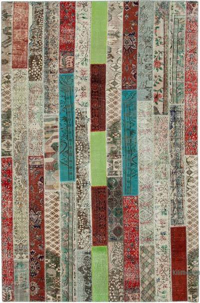 """Patchwork Hand-Knotted Turkish Rug - 6' 8"""" x 10' 1"""" (80 in. x 121 in.)"""